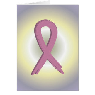 Pink Ribbon Colorful Breast Cancer Awareness Card