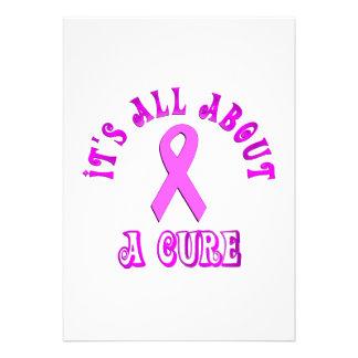 Pink Ribbon Cure Custom Announcements