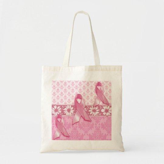 Pink Ribbon Daisy Damask Breast Cancer Tote Bag