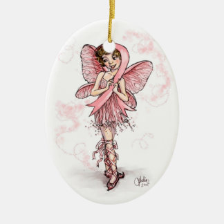 Pink Ribbon Fairy Christmas Ornament