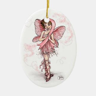 Pink Ribbon Fairy Ceramic Oval Decoration
