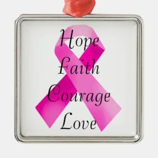 Pink Ribbon Faith Square Ornament