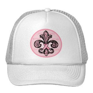 Pink Ribbon Fleur de lis Hats