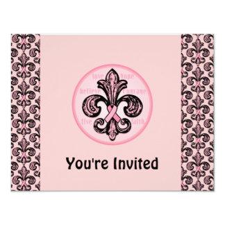 Pink Ribbon Fleur de lis 11 Cm X 14 Cm Invitation Card