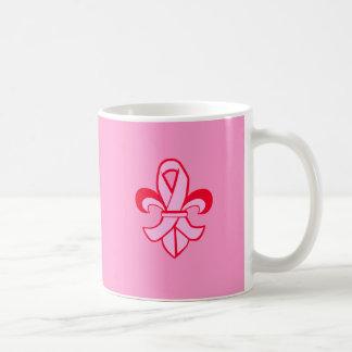 Pink Ribbon Fleur de Lis Coffee Mug