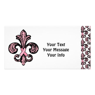Pink Ribbon Fleur de lis Photo Card Template