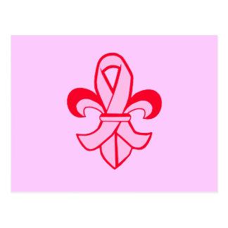 Pink Ribbon Fleur de Lis Postcard
