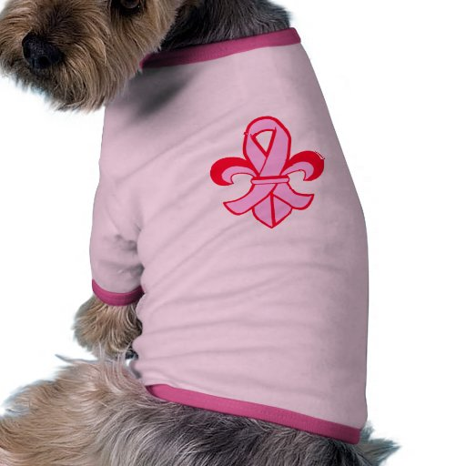 Pink Ribbon Fleur de Lis Ringer Dog Shirt