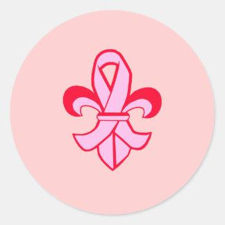 Pink Ribbon Fleur de Lis Round Sticker