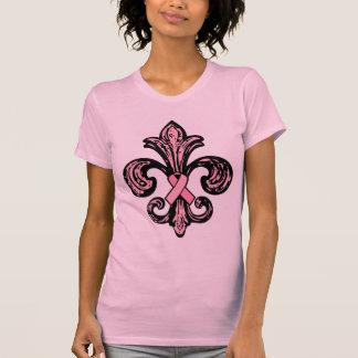 Pink Ribbon Fleur de lis T Shirts