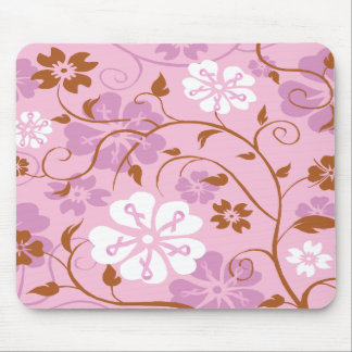 Pink Ribbon Floral Mouse Pad
