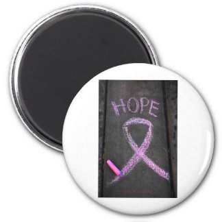 Pink Ribbon for Breast Cancer Awareness 6 Cm Round Magnet