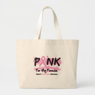 Pink Ribbon For My Fiancee Breast Cancer Tote Bags