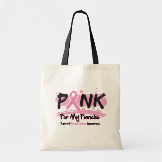 Pink Ribbon For My Fiancee Breast Cancer Bags