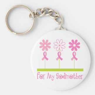 Pink Ribbon For My Godmother Key Ring