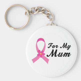Pink Ribbon For My Mum Basic Round Button Key Ring