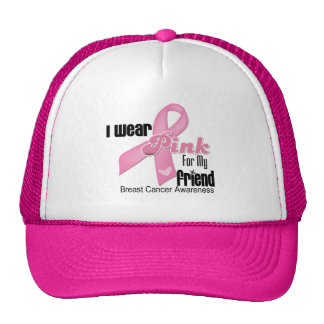 Pink Ribbon Friend Breast Cancer Trucker Hats