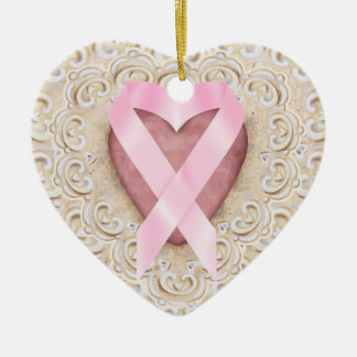 Pink Ribbon From the Heart - SRF Ceramic Heart Decoration