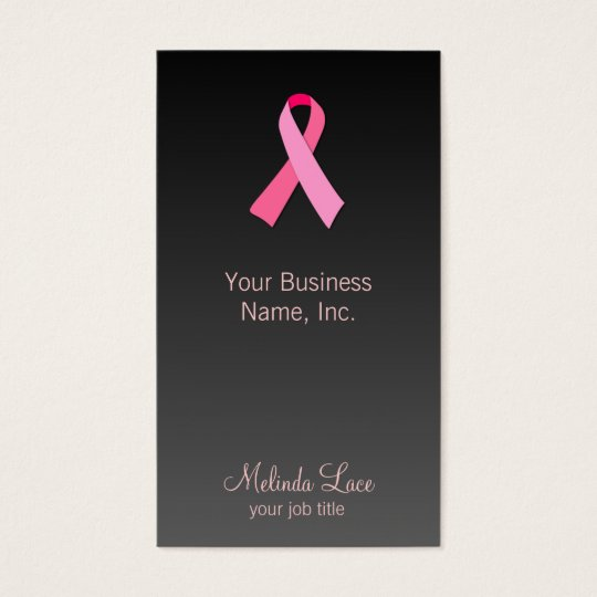 Pink Ribbon Gradient Background Business Card