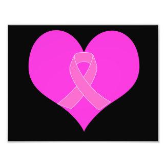 Pink Ribbon & Heart Breast Cancer Charity Design Photo Art