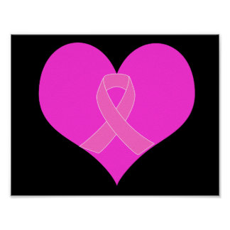 Pink Ribbon & Heart Breast Cancer Charity Design Poster