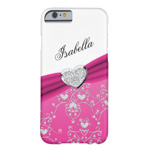 Pink Ribbon Heart Damask iPhone 6 case