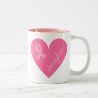 Pink Ribbon Heart Daughter Two-Tone Coffee Mug