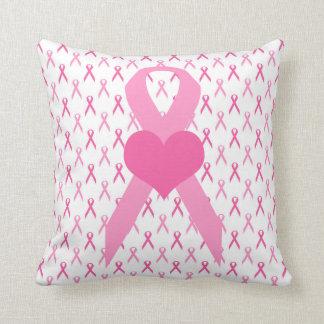 Pink Ribbon Heart Pillow