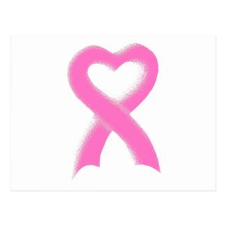Pink Ribbon Heart Postcard
