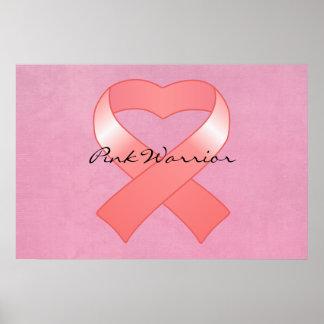 Pink Ribbon Heart Poster Print