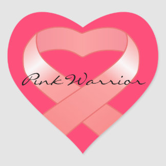 Pink Ribbon Heart Stickers