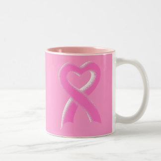 Pink Ribbon Heart Two-Tone Mug