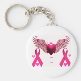 Pink Ribbon Hearts Basic Round Button Key Ring