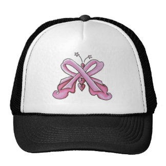 Pink Ribbon Hope Butterfly Mesh Hats