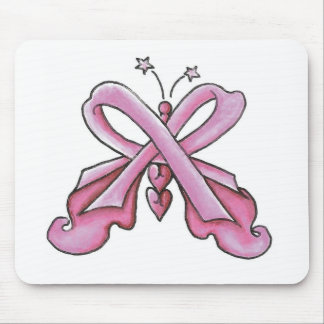 Pink Ribbon Hope Butterfly Mouse Pads