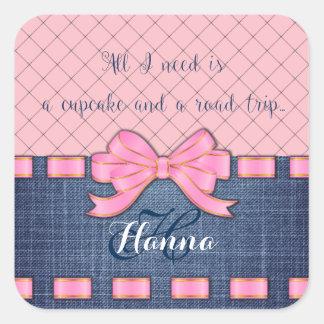 Pink Ribbon, Jeans Fabric, Pink Pattern Saying Square Sticker