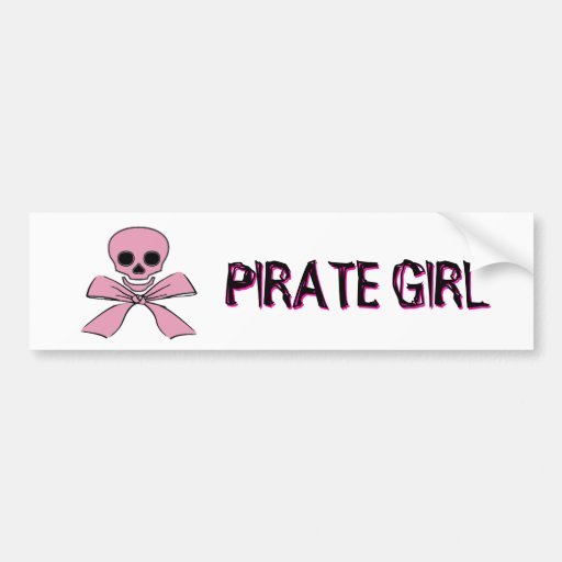 Pink Ribbon Jolly Roger Pirate Girll Sticker Bumper Stickers