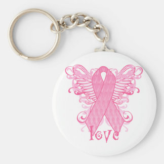 Pink Ribbon Love Wings Basic Round Button Key Ring