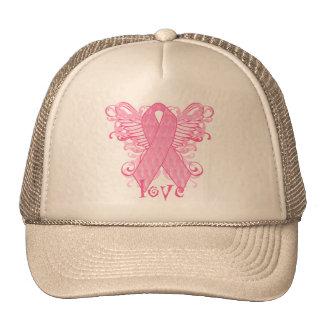 Pink Ribbon Love Wings Cap