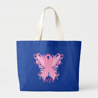 Pink Ribbon Love Wings Jumbo Tote Bag