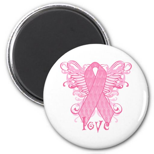 Pink Ribbon Love Wings Refrigerator Magnet