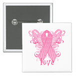 Pink Ribbon Love Wings Pin