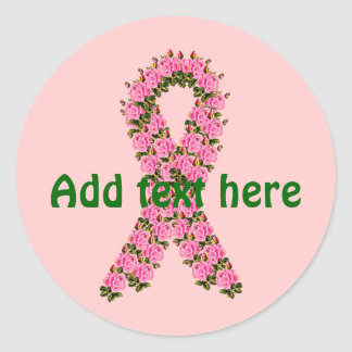 Pink Ribbon Made of Pink Roses Round Sticker