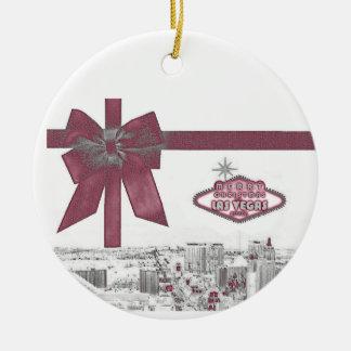 PINK Ribbon Merry Christmas from Las Vegas Ornamen Round Ceramic Decoration