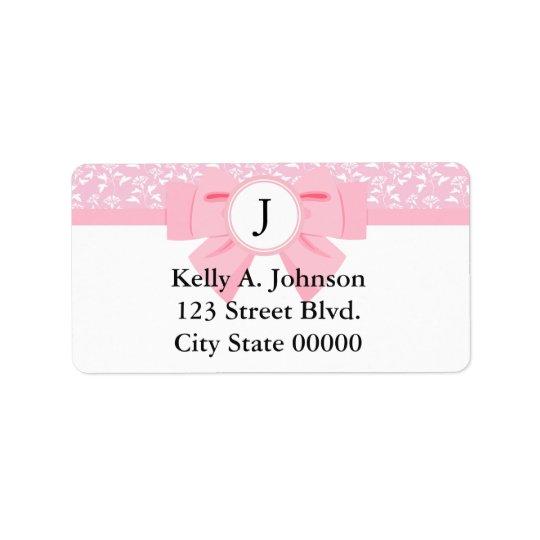 Pink Ribbon Monogram with Floral Print Address Label