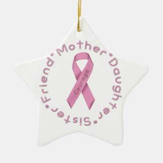 Pink Ribbon of Courage Christmas Ornament