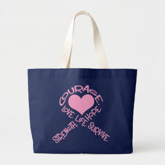 Pink Ribbon of Words Breast Cancer Bag