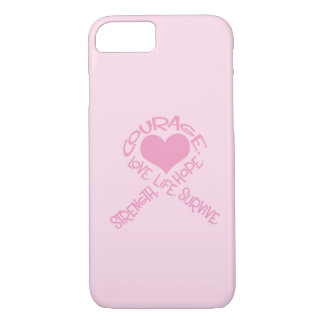 Pink Ribbon of Words Breast Cancer iPhone 7 case