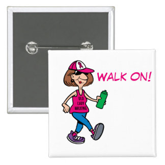 Pink Ribbon Old Lady Walking - Crushing Cancer Pin