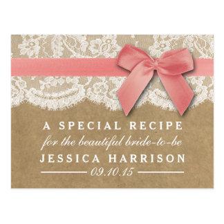 Pink Ribbon On Kraft & Lace Bridal Shower Recipe Postcard